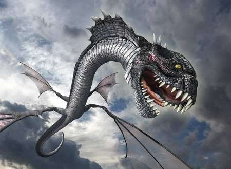 horrifying: A snake dragon swoops down from the sky to attack it prey - 3D render. Stock Photo