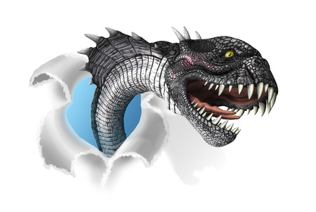 horrifying: A terrifying mutant snake rips through your document - 3d render with digital painting. Stock Photo
