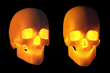 radiate: Two skulls, lit from within, radiate a warm glow - 3d render.