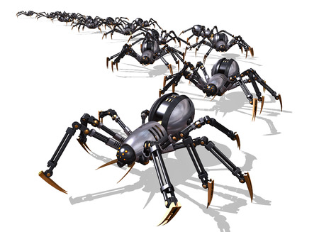 military invasion: An army of RoboSpiders launch an invasion - 3D render. Stock Photo