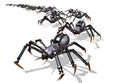 invasion: Une arm�e de RoboSpiders lancer une invasion - 3D render. Banque d'images