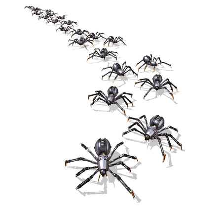 military invasion: A large group of RoboSpiders on the move - 3D render. Stock Photo