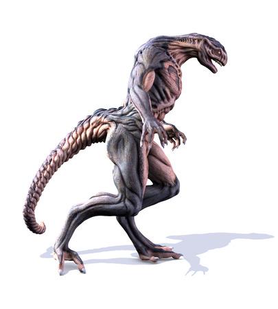 invader: An alien takes a walk - 3D render.