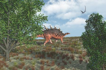 stegosaurus: Un dinosaurio kentrosaurus deambula mientras que un Dorygnathus vuela por encima - 3d.