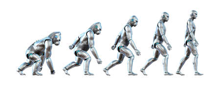 technological evolution: A chart showing the progression of a robot ape evolving into a robot human - 3D renders.