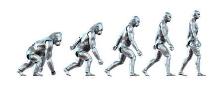 evolucion: Un gráfico que muestra la progresión de un mono robot evolucionando hacia un robot humano - renders 3D.