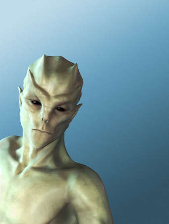 roswell: An alien portrait on a blue background with space for your message - 3d render.