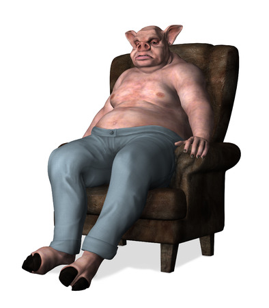 sits on a chair: An overweight pig-man sits slouched in a chair - 3d render. Stock Photo