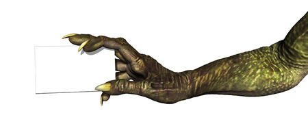 holds: A monster hand holds a blank business card - 3d render with digital painting.