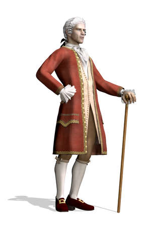 18th: A man stands wearing 18th Century clothing - 3d render.
