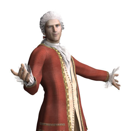 A man wearing 18th Century attire invites you to join him - 3d render. Stock Photo