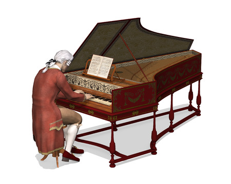 18th century: A man wearing 18th Century attire is playing the harpsichord - 3d render. Stock Photo