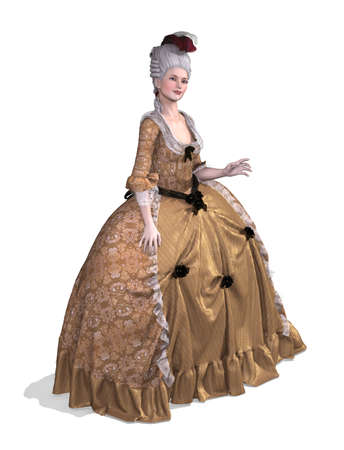 baroque: An elegent lady wearing an 18th century Rococo style gown - 3d render.