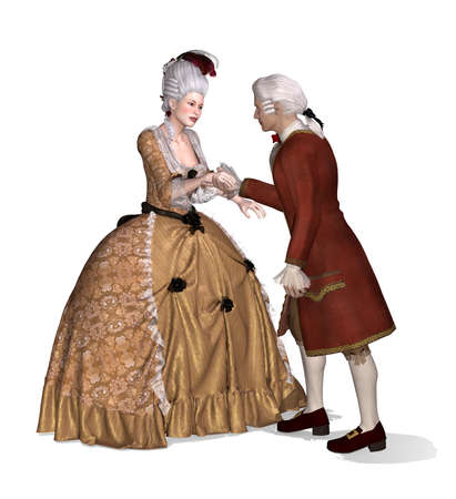 A 18th century gentleman greets a lady - 3d render with digital painting. photo