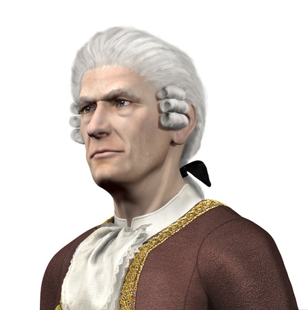 17th: Portrait of a 17th century gentleman - 3d render with digital painting. Stock Photo