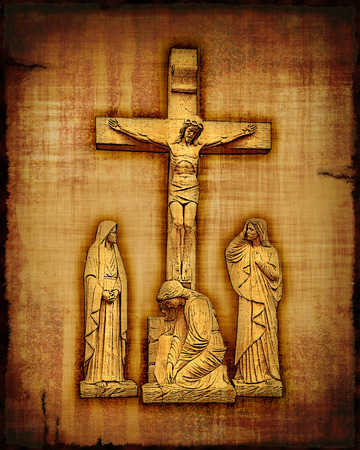dying: An old worn parchment featuring the Crucifixion of Christ - digital image.
