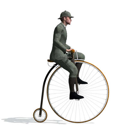 antique coins: A man riding a penny-farthing bicycle - 3D render. Stock Photo