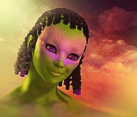 alien women: alien girl - 3d render with digital painting.