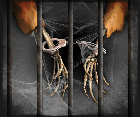 correctional facility: Skeleton hands represent excessively long prison sentences in the US - 3d renders with digital painting.