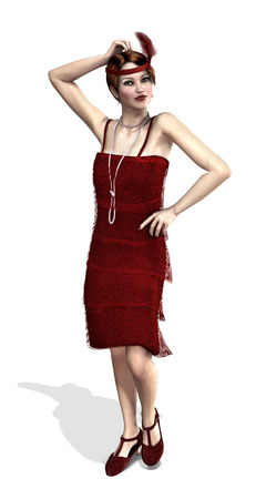 flapper: Una chica de la aleta de moda de la década de 1920 - 3d.