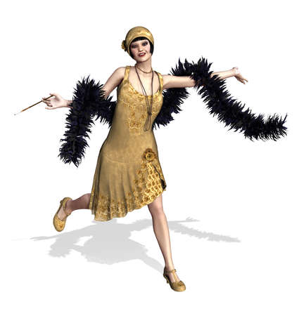 feather boa: A fun loving flapper girl with a feather boa - 3D render