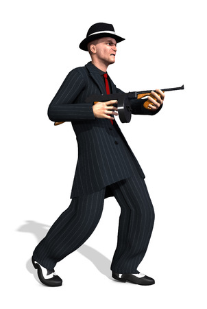 tommy: A 1920s gangster wearing a zoot suit and holding a tommy gun - 3d render. Stock Photo