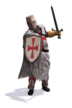 cavaliere medievale: Un Cavaliere Templare pronti a dare battaglia - rendering 3D.