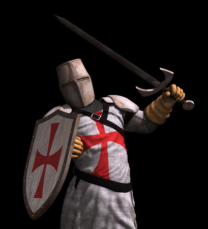 rycerz: Rycerz Templariuszy w bitwie - renderowania 3D.