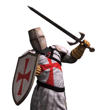 cavaliere medievale: Un Cavaliere Templare in battaglia - rendering 3D. Archivio Fotografico