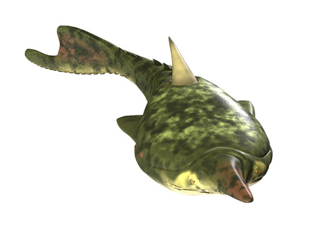 prehistoric fish: The Pteraspis was a prehistoric fish that lived during the Devonian Period - 3d render. Stock Photo
