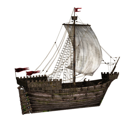 middle ages boat: The Koggen - a sailing ship that was used during the middle ages - 3D render.