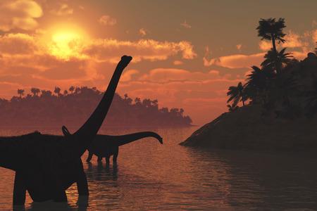 兩個梁龍恐龍在晚一天太陽漫遊 - 三維渲染。