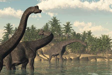 jurassic: A prehistoric scene featuring 3 brachiosaurus dinosaurs - 3d render.