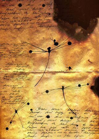 myst: illustration of burnt paper with dragonflys Stock Photo