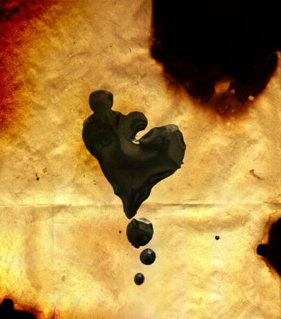 myst: illustration of burnt paper with heart Stock Photo