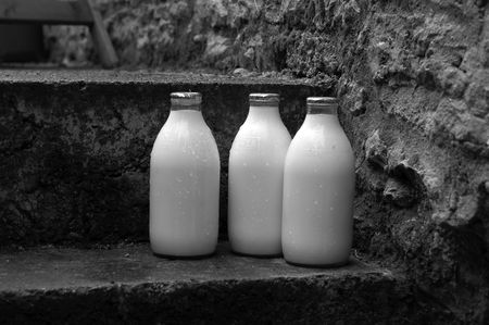 pasteurized: milk bottles in the rain Stock Photo