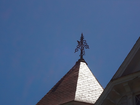 vane: weather vane on Victorian roof