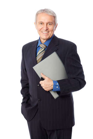 consultants: Image of senior businessman smiling, isolated on white