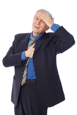 Image of businessman having a heart attack, isolated on white Stock Photo
