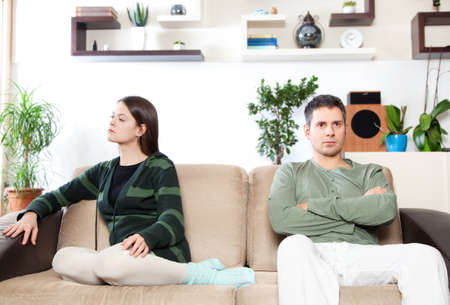 angry people: Image of young couple after quarrel