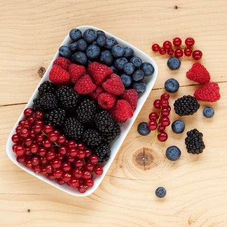 plateful: Mix of differrent berries assorted on a plate Stock Photo