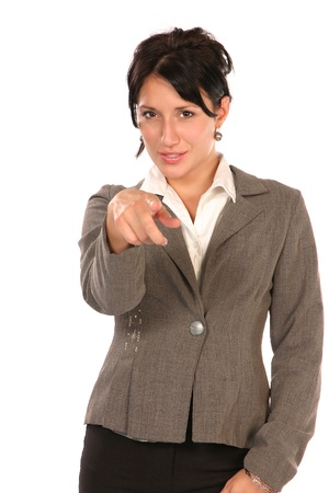 Young business woman pointing at you, isolated on white photo