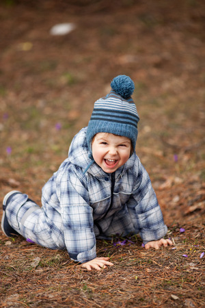 two year old: Adorable two year old boy having fun outdoors