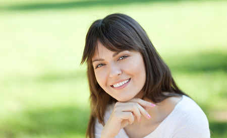 field depth: Portrait of a beautiful young woman, shallow depth of field
