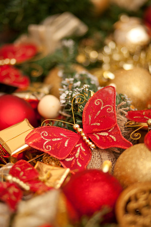 Close up of various colorful Christmas decorations, shallow depth of field photo