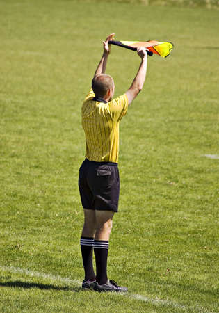 Soccer lines man with flag Stock Photo - 904934