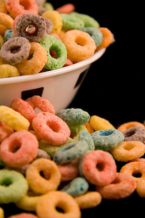 An overflowing bowl of cereal photo