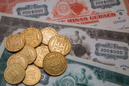 bonds: Old Brazilian coins and bonds