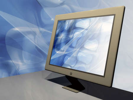 internet terminals: Lcd monitor with abstract wallpaper.