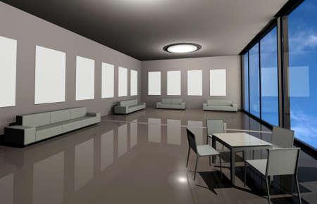 an exposition: Contemporanea aziendale galleria con divani, tavolo, sedie e luoghi per l'esposizione di opere d'arte